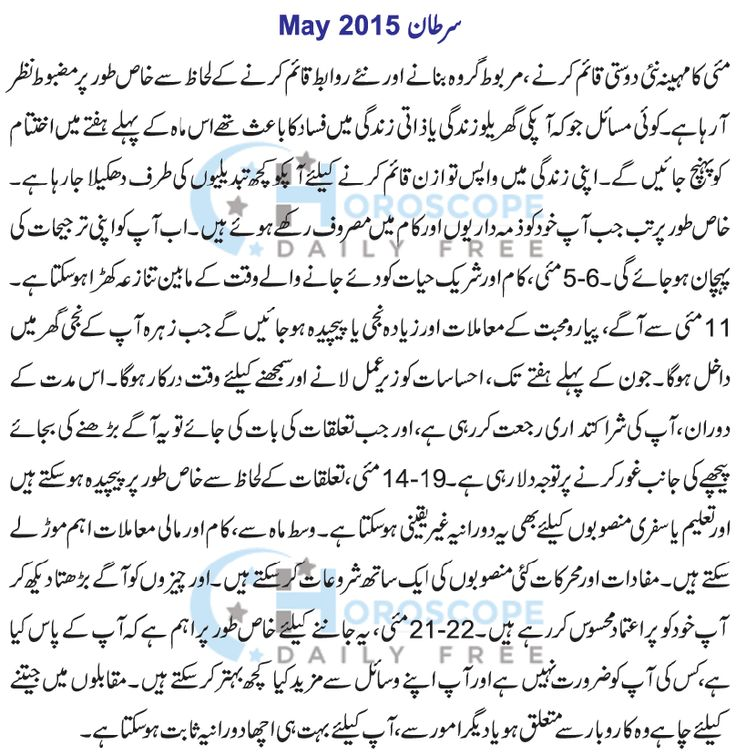 Cancer Monthly Horoscope in Urdu 2015