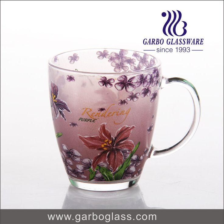 360ml glass beer mug with beautiful decal