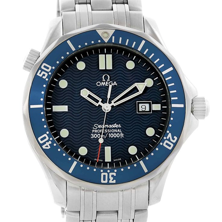 15064 Omega Seamaster Professional Blue Wave Dial Quartz Mens Watch 2541.80.00 SwissWatchExpo