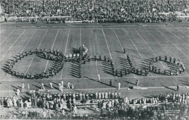 One of the earliest Script Ohio formations performed by the Ohio State University marching band. Circa 1936.