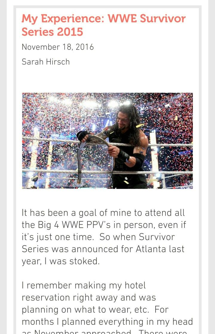 My Experience: WWE Survivor Series 2015