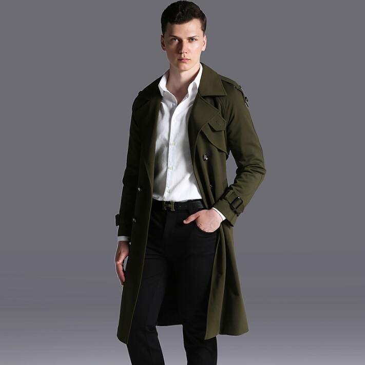 2017 spring autumn new designer double breasted trench coats mens long coat men clothes slim fit overcoat man long sleeve 6XL