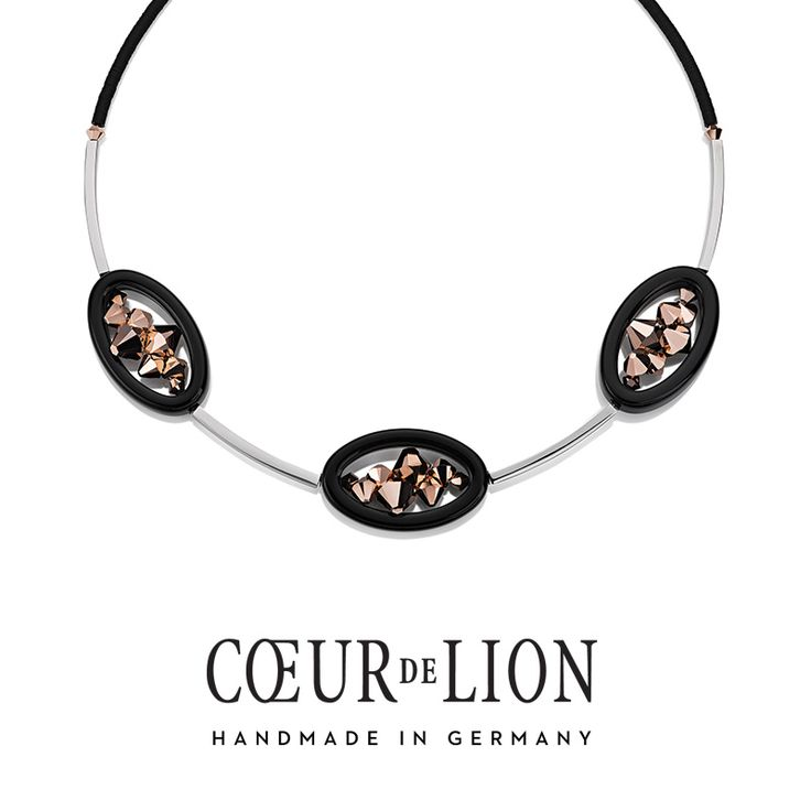 Handmade in Germany this Swarovski rose gold and black necklace is a timeless addition to any wardrobe.