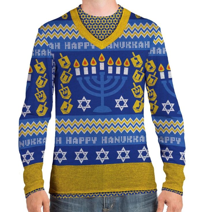 This ugly Hanukkah sweater for men will get you noticed at the next ugly sweater party you go to. This will also elicit giggles from the family at your Chanukah gathering.