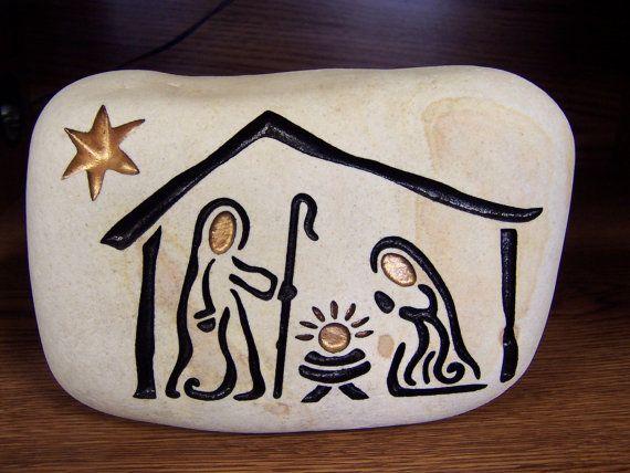 SISTEMA de la Natividad grabado Natural río piedra 8 x 5 en