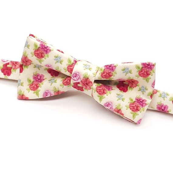 Pink Floral Bow tie Men's Floral Bow tie Red by FlyTiesforFlyGuys