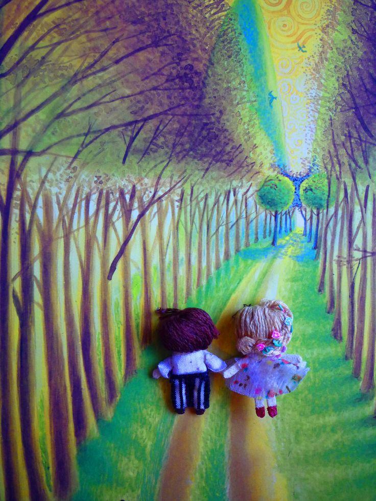 "Romantic Couple, Muñecos de trapo miniatura (1 1/2"" c/u) - espalda-. Miniature rag dolls (1 1/2"" each one) -back-. By Georgina Verbena"