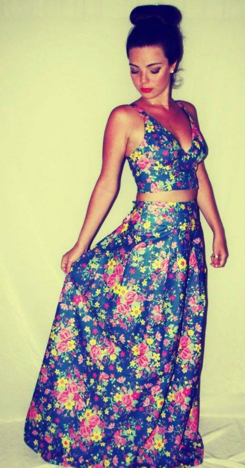 Casadinho floral: Cropped + saia longa