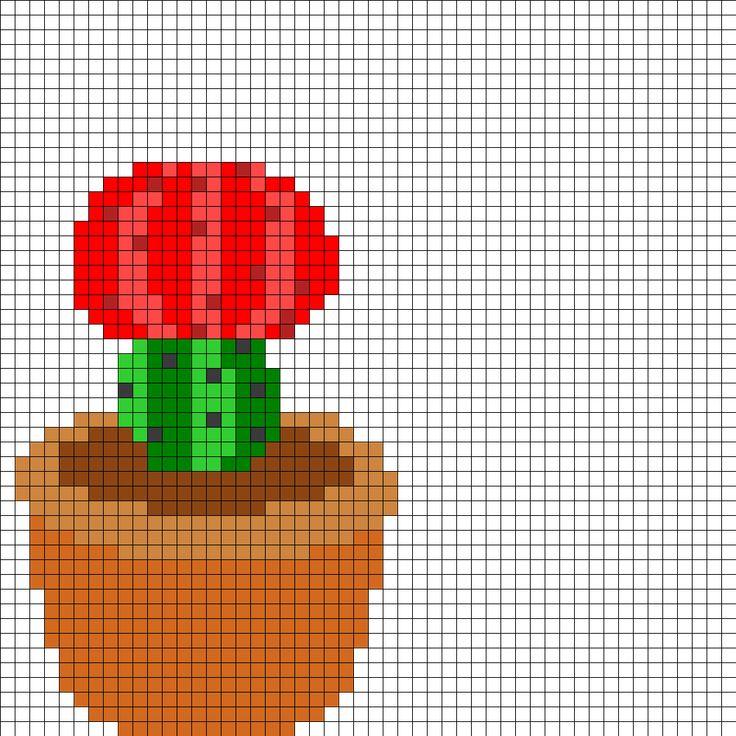 Red Flowering Cactus Perler Bead Pattern