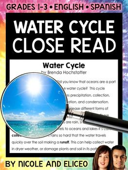 This downloads in English plus a FREE Spanish version. It has a variety of resources for your water cycle lessons or unit. It includes a close reading guide, text code reference sheet, poster, vocabulary cards, non-fiction text and activity sheets. I made these water cycle close reading activities to boost my students vocabulary development and deepen their comprehension as they learn to read with a purpose and pay more attention to details.