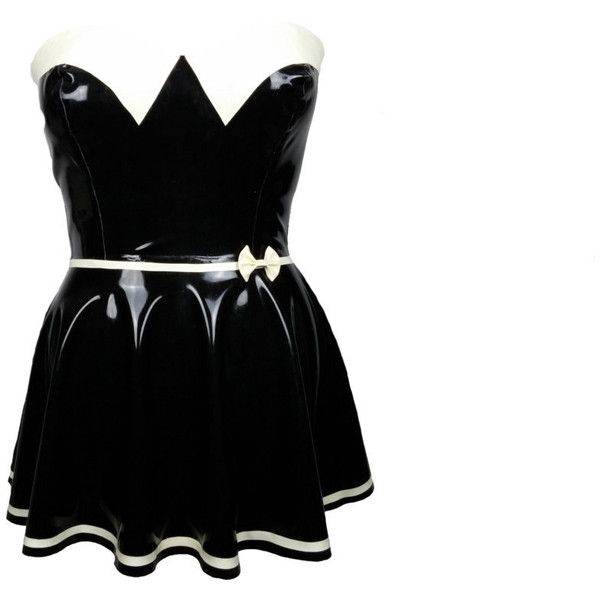 SALE Bespoke Latex Swing Circle Mini Dress 1950s 1940s Retro Rubber... ($183) ❤ liked on Polyvore featuring dresses, swing dress, black swing dress, trapeze dress, black pinup dress and retro swing dress