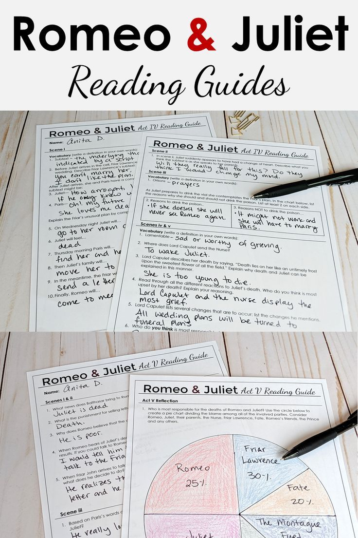 Romeo And Juliet Reading Guide In 2020 Romeo And Juliet High School Literature High School Art Lesson Plans