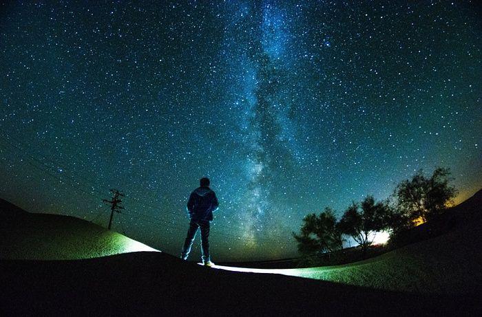 The starry sky above Kubuqi Desert