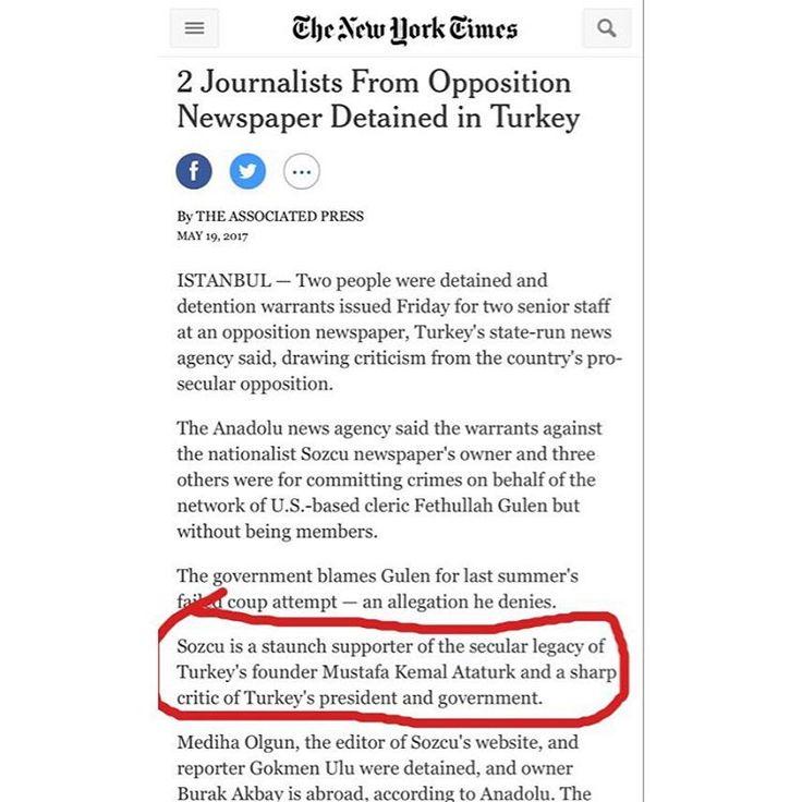 New York Times ın bugünkü haberi... 'Son Kale' SÖZCÜ ve okurlarının ATATÜRK ve CUMHURİYET değerlerini sahiplenişleri;