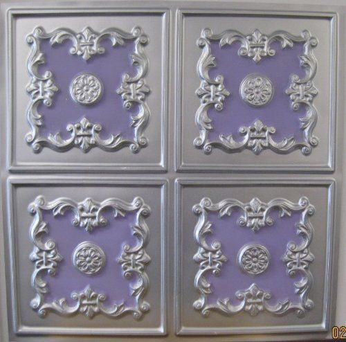 Faux Tin Silver Violet Plastic 130 PVC 2x2 Ceiling Tile Pack of 8 Tiles Can Be Glued on Any Flat Surface Ul Rated * Read more  at the image link.