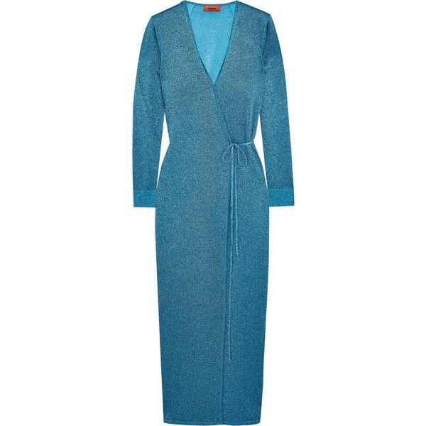 Missoni Metallic stretch-knit wrap maxi dress ($1,585) ❤ liked on Polyvore featuring dresses, missoni, blue wrap dress, wrap dress, wrap style dress, teal maxi dress and tie dress