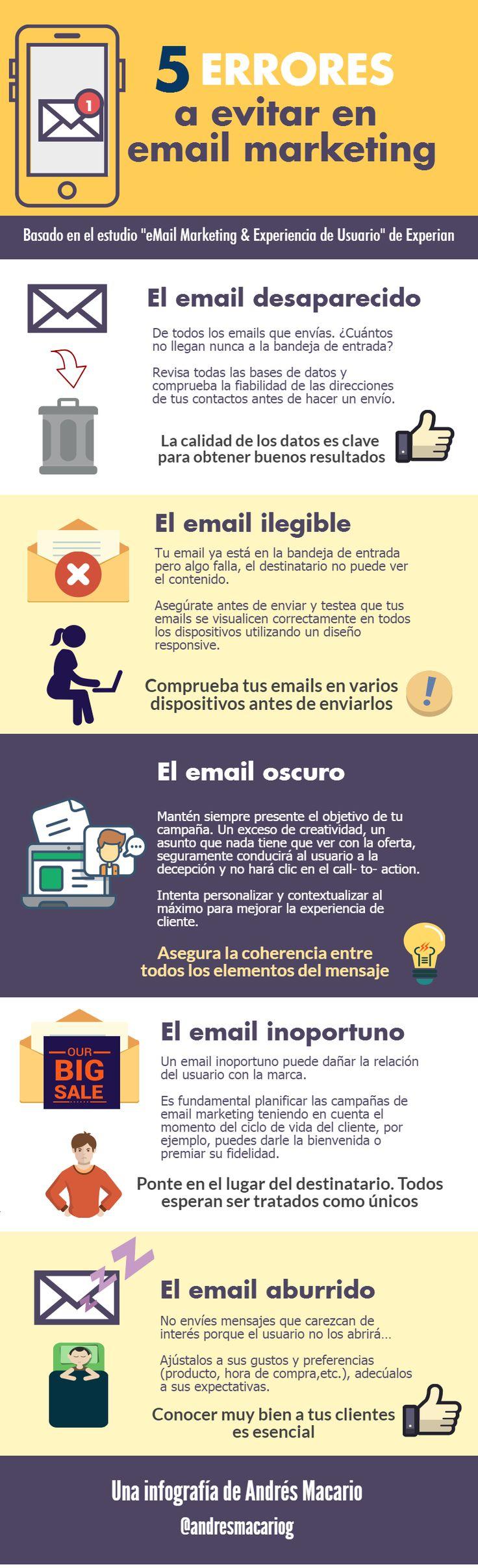 5 errores a evitar en email marketing #infografia