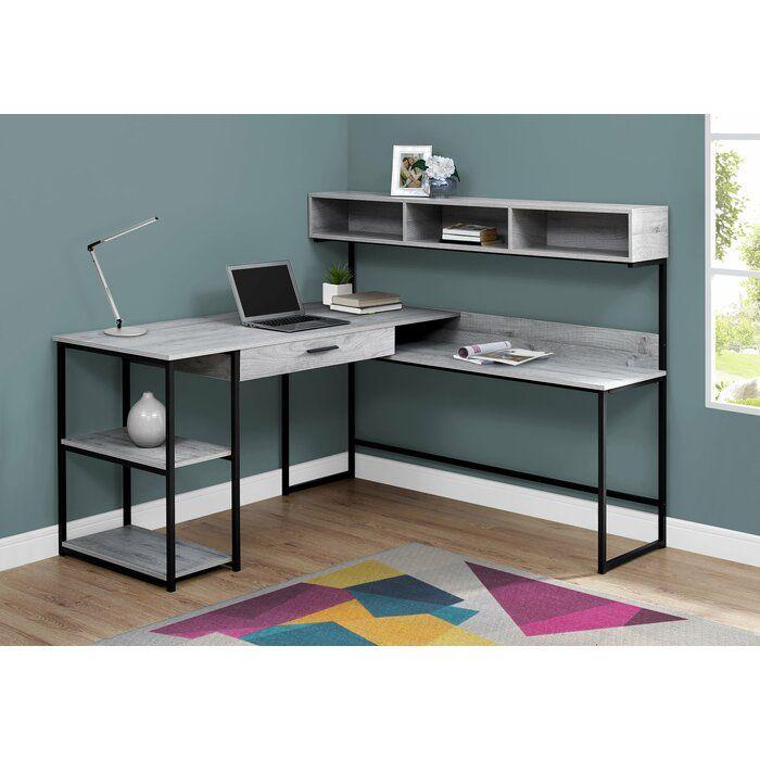Hankins L Shape Desk Reviews Joss Main Grey Desk Computer Desk Grey L Shaped Corner Desk