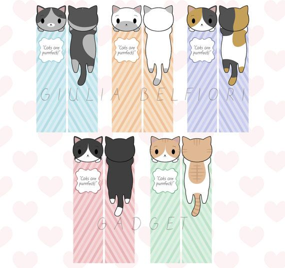 Digital cats bookmarks, five cute kitties, chibi kawaii cats, quote bookmark, colorful bookmark, funny cute book accessory, instant download by GiuliaBelfioriGadget