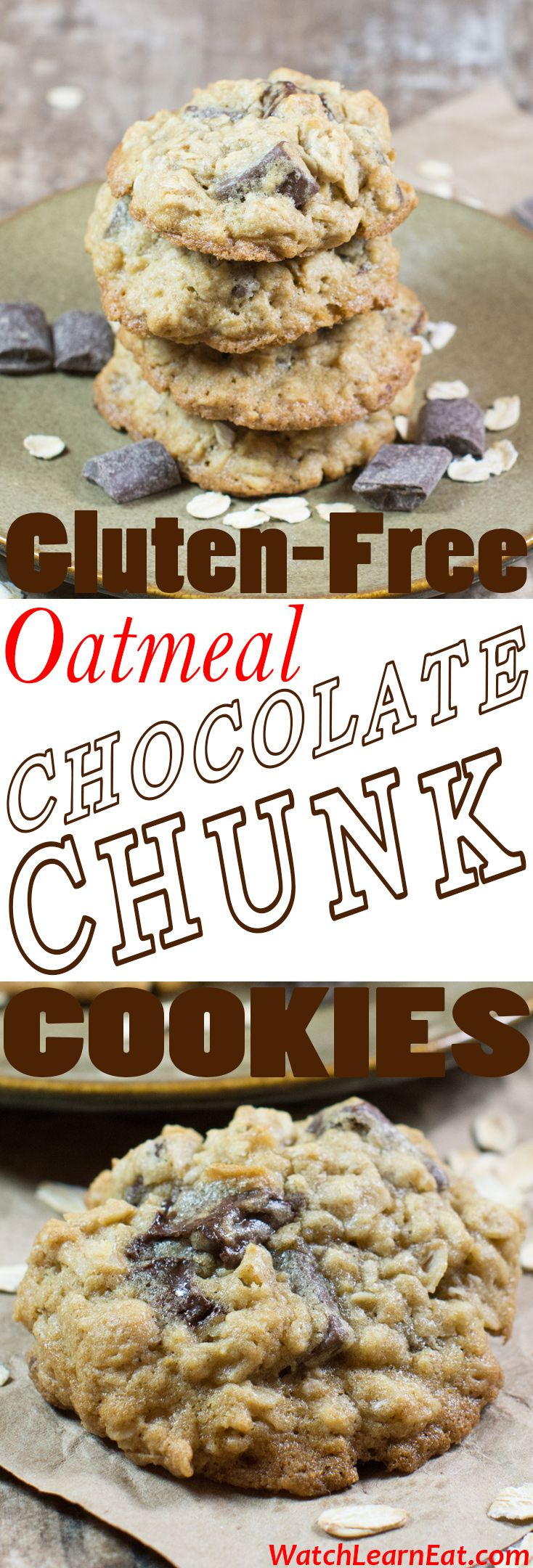 These soft and chewy Gluten-Free Oatmeal Chocolate Chunk Cookies will please both gluten-free and non-gluten-free eaters alike.