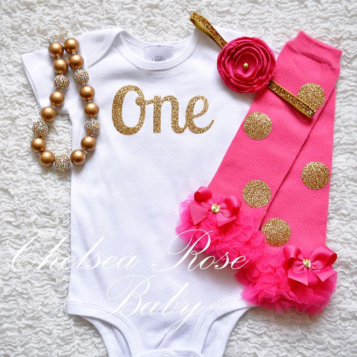 Pink and Gold 1st Birthday outfit, Pink Gold cake smash, 1st Birthday, 2nd Birthday, Hot pink Gold outfit, Pink Gold Birthday Gold One Shirt by ChelseaRoseBaby on Etsy https://www.etsy.com/listing/455458974/pink-and-gold-1st-birthday-outfit-pink