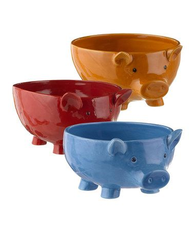 Really cute! Look what I found on #zulily! Pig Bowl Set #zulilyfinds