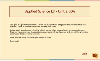 Set of resources for BTEC Level 3 Applied Science Unit 2 Learning Outcome A