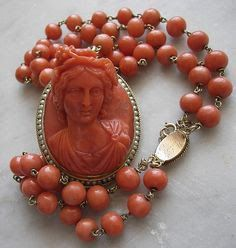 """Bacchante coral cameo necklace, ca. 1860.  Private collection  via Ruby Lane """