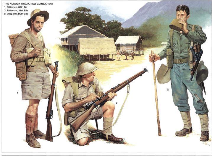 Australian Army - Nuova Guinea 1942/43 - 1. Rifleman, 39th Battalion - 2. Rifleman, 21th Bde - 3. Corporal, 25th Bde