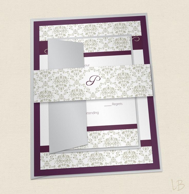 bed bath and beyond wedding invitation kits%0A Damask Wedding Invitation Sample Set  Layered Invitation Suite  Eggplant  and Silver Elegant Wedding Invitation