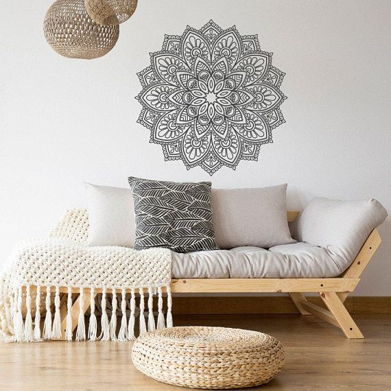 Bohe Mandala Flower Wall Paper Decor Yoga Studio Vinyl: NEW Unique Mandala Decals For Walls- Mandala Wall Decal