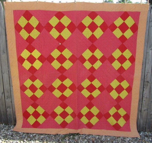 """PATRIOTIC RED 1890s Checkerboard Antique Quilt YELLOW 72"""" x 71"""" HANDmade DISPLAY"""