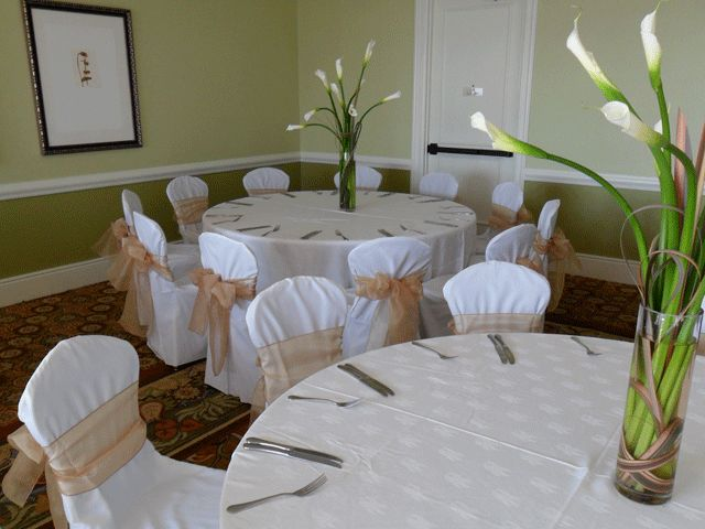 Gold Bows on white chair covers for rent - Special Event Linens.