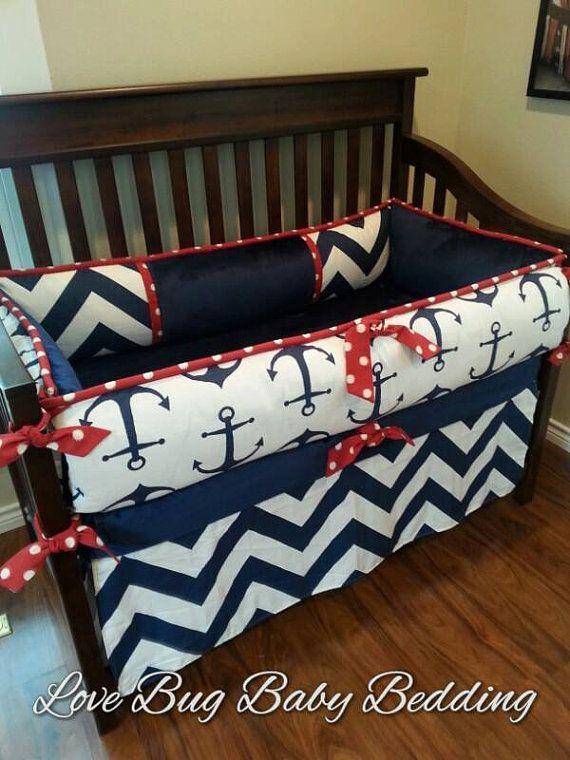 Custom Baby Bedding Nautical by LoveBugBabyBedding on Etsy, $495.00