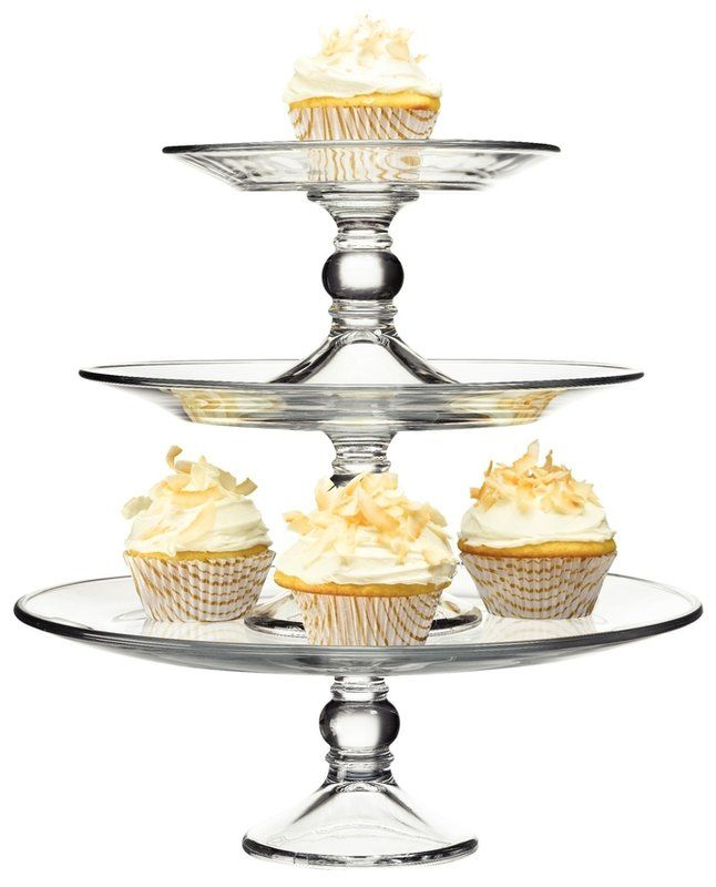 Selene 3 Tier Glass Platter Tiered Cakes Tiered Cake Stands