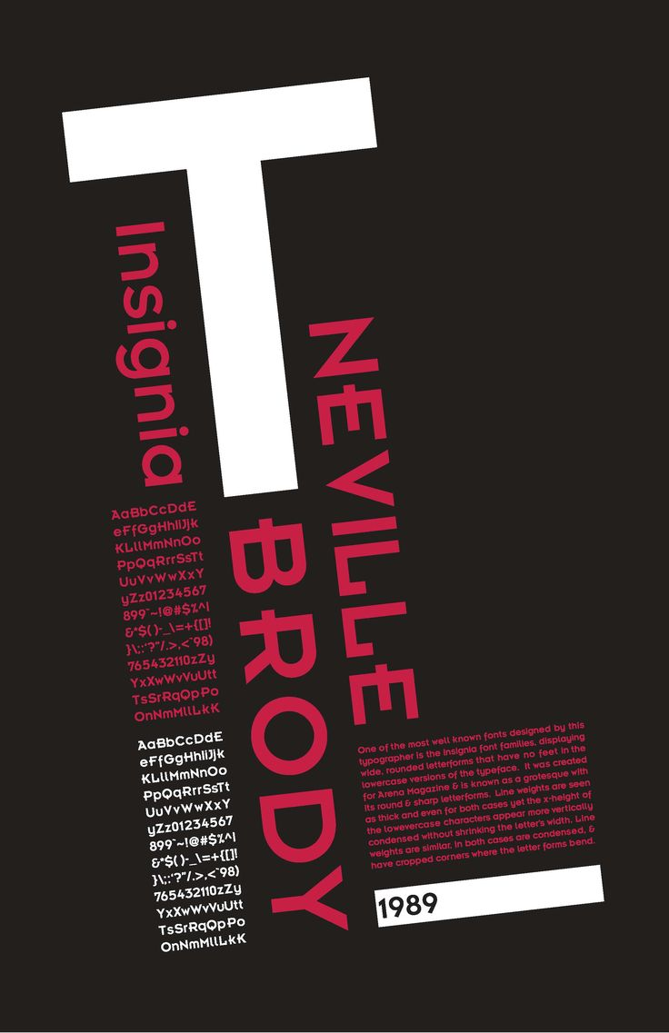 1989 poster using one of Neville's typefaces, showing off the design as well as giving information on Neville's work.