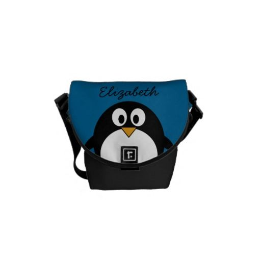 cute cartoon penguin with blue background courier bag