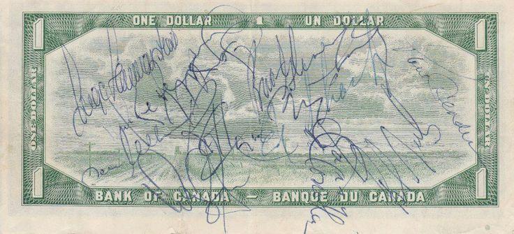"""How many Toronto Maple Leaf autographs can you identify from this Old Dollar Bill ?  Inge Hammarstrom, Norm Ullman,  Errol Thompson, George Ferguson,  Ron Ellis, Darryl Sittler, Brian Glennie,  Ed Shack,Gary Monahan, Bob Neely and  Paul Henderson."