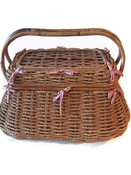 Vintage Picnic Basket Wicker Picnic BasketGerman by PhotosPast, $30.00 - 105 Best VINTAGE STUFF / CHAIRS / STOELE / VINTAGE SLEEPER SOFAS