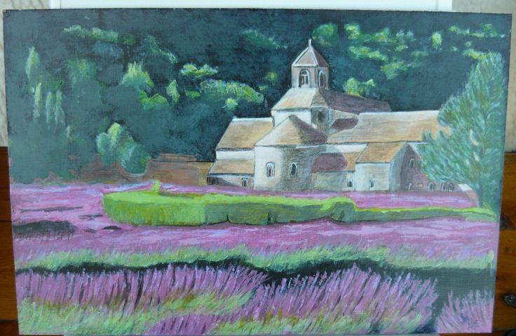 created by: Kovácsné Sz. Éva - acrylic, 20x30 cm wallboard   (Forrás: indulgy.com #Lavender Fields #Tuscany #Italy)