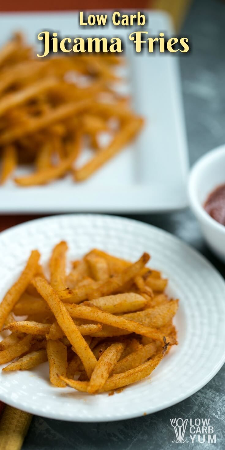 Is there such a thing as low carb French fries? Jicama fries are about as close as you can get. Here's the basics on how to make them. | LowCarbYum.com via @lowcarbyum