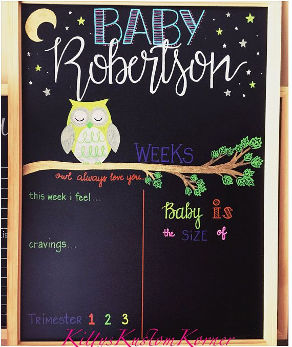 Custom Weekly Reusable Pregnancy Baby Bump Board Chalkboard