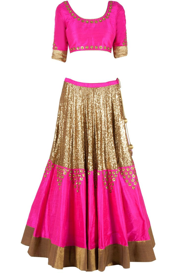 Heavy sequinned lehenga set.. golden with pink..