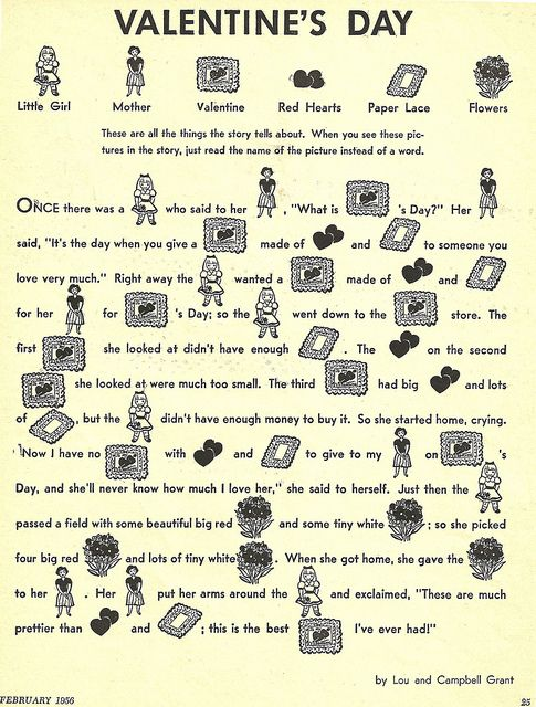 valentines day story from a 1956 childrens activity - Valentine Stories