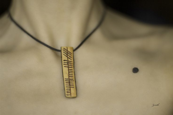 The artwork I love the most: my first necklace made a few years ago. Its meaning is Zenith, written in ogham. Items needed: Drilling machine Sandpaper Saw Piece of wood Leather string 1.Find a nice...