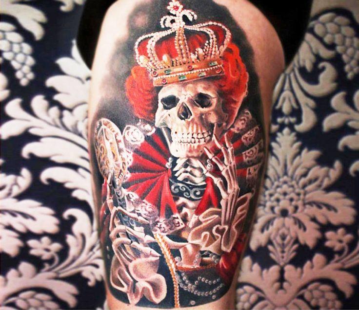 Skull king tattoo by Moni Marino