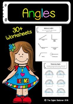 Printable worksheets  AnglesContains 40 worksheets:*Angle booklet page (b&w)*Angle booklet name page (color)*Angle chart*Types of angles*Drawing angles*2 x Classifying angles*Cut and glue*2 x Vertex and sides*Draw your own vertex and sides*2 x Identifying position of points*2 x Draw your own angles (points)*3 x Measuring angles (protractor)*2 x Measuring angles (using protractor)*2 x Measuring angles (clocks)*2 x Measure and classify* Draw and classify* Multiple rays* 3 x Shape angles* 2 ...