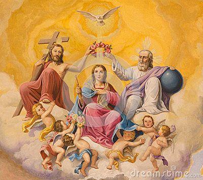 Seville - The fresco of Coronation of Virgin Mary on the ceiling of presbytery of church Basilica de la Macarena