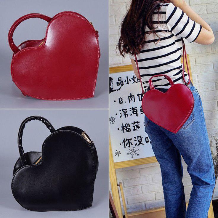 Black/Rot Hand Bag Heart Shaped Shoulder Bag Pu Women Girl Messenger Bag Gift