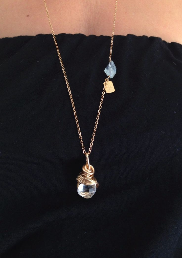 Wisewoman Clear Quartz necklace worn on model.JPG
